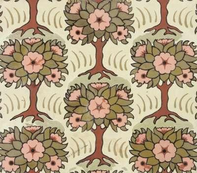 Stylised pink-flowering trees linoleum design
