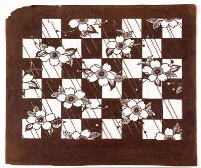 'Sakura' (Cherry Blossom) with chequered pattern katagami stencil