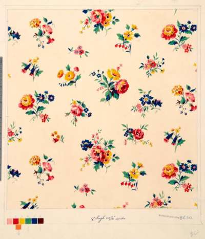 Pink, yellow and blue floral chintz