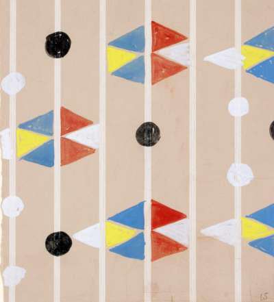 Pattern design with vertical lines and red, yellow, white and blue triangles