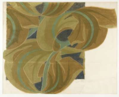 Textile design of stylised scrolling brown and green leaves