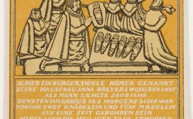 Yellow 75 Pfennig Hameln notgeld showing Septuplets memorial