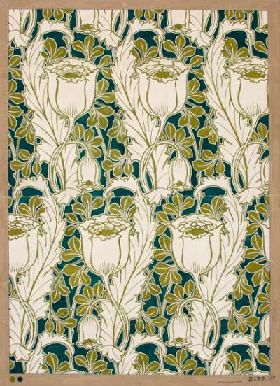 Floral pattern in green and white tones