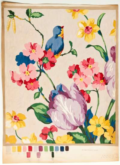 Handkerchief design of tulips and narcissus growing from pink blossom plant, with a bird
