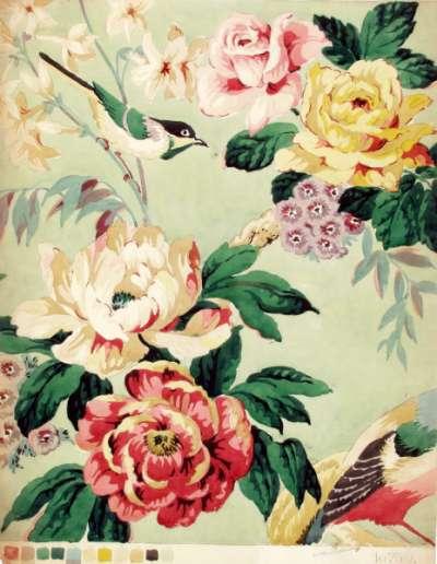 Rose and rosebud chintz design