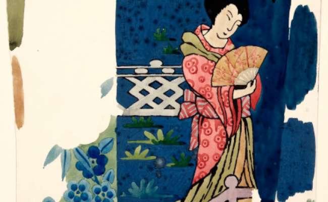 Japanese lady  holding a fan