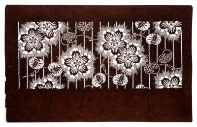 'Sakura' (Cherry Blossom) pattern powdered with snow rings, with vine stripes and 'Aoi' (Hollyhock) leaf pattern