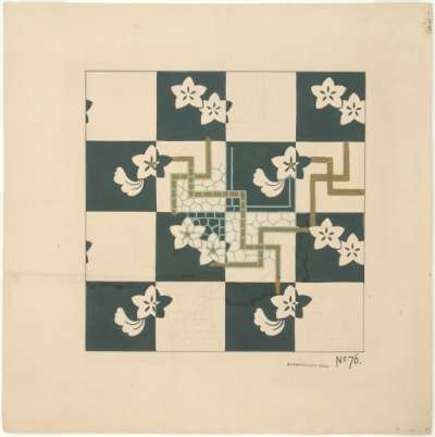 Flower heads and swastika like patterns on a green and white chequered ground
