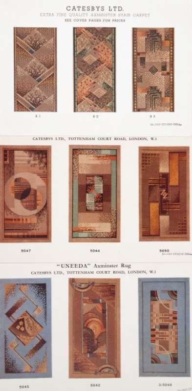 Three pages from a Catesby Ltd. catalogue for Axminster rugs