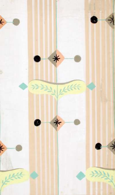 Wallpaper design with vertical stripes and patterns