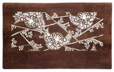 Bamboo and 'Fukura Suzume' (round and puffy Sparrow) katagami stencil