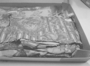 overfilled box of Silver Studio textiles