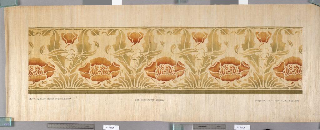 the richmond stencilled grasspaper of orange tulips