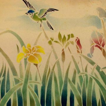irises and bird stencilled design