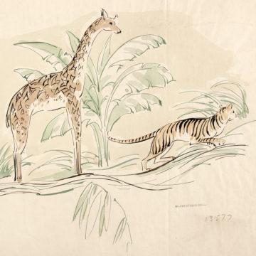 Stag giraffe and tiger design
