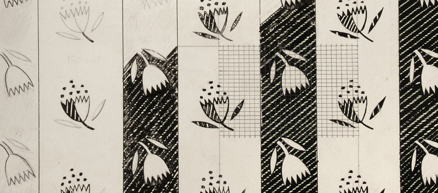 Drawing for Astrantia textile design by Enid Marx, 1946