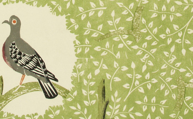 Detail of Woodpigeon wallpaper by Edward Bawden