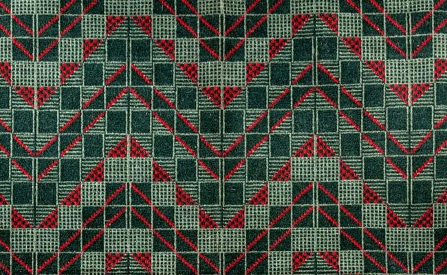 Chevron moquette textile designed by Enid Marx, 1938