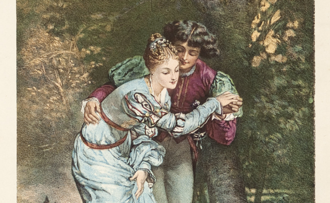 sheet music cover showing coloured engraving of a forest setting with a man and woman in medieval costume by the edge of a pond