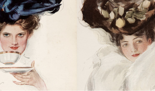 images from two postcards showing women in Edwardian hats and dress
