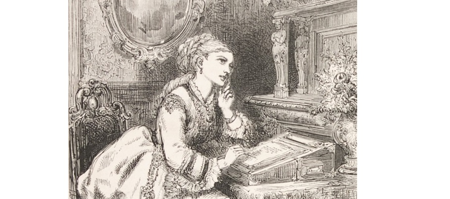 section of an illustration showing a woman sitting at a writing desk daydreaming