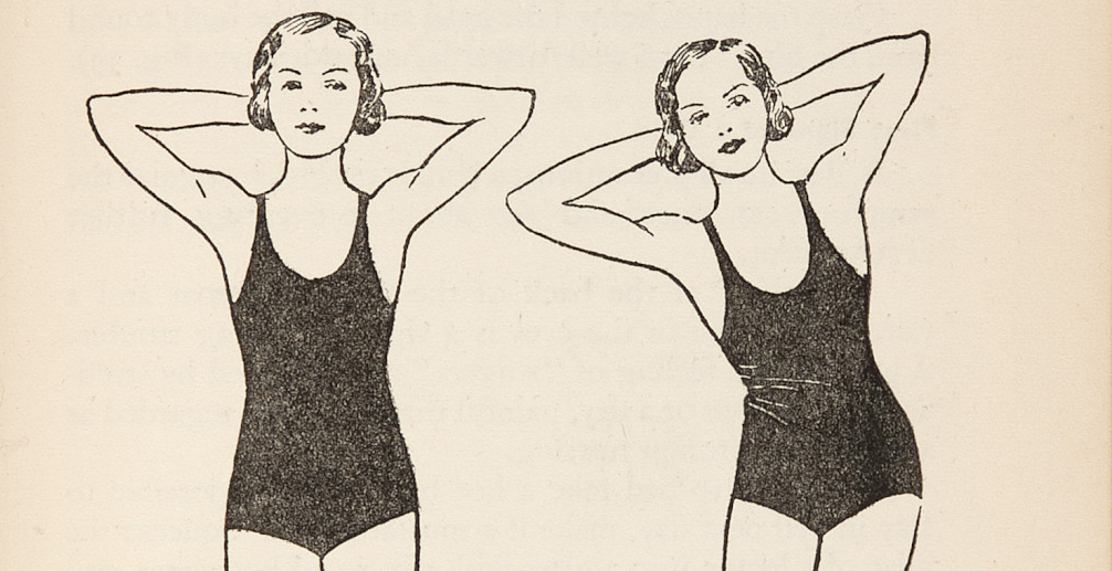 drawing of two girls in leotards doing stretches