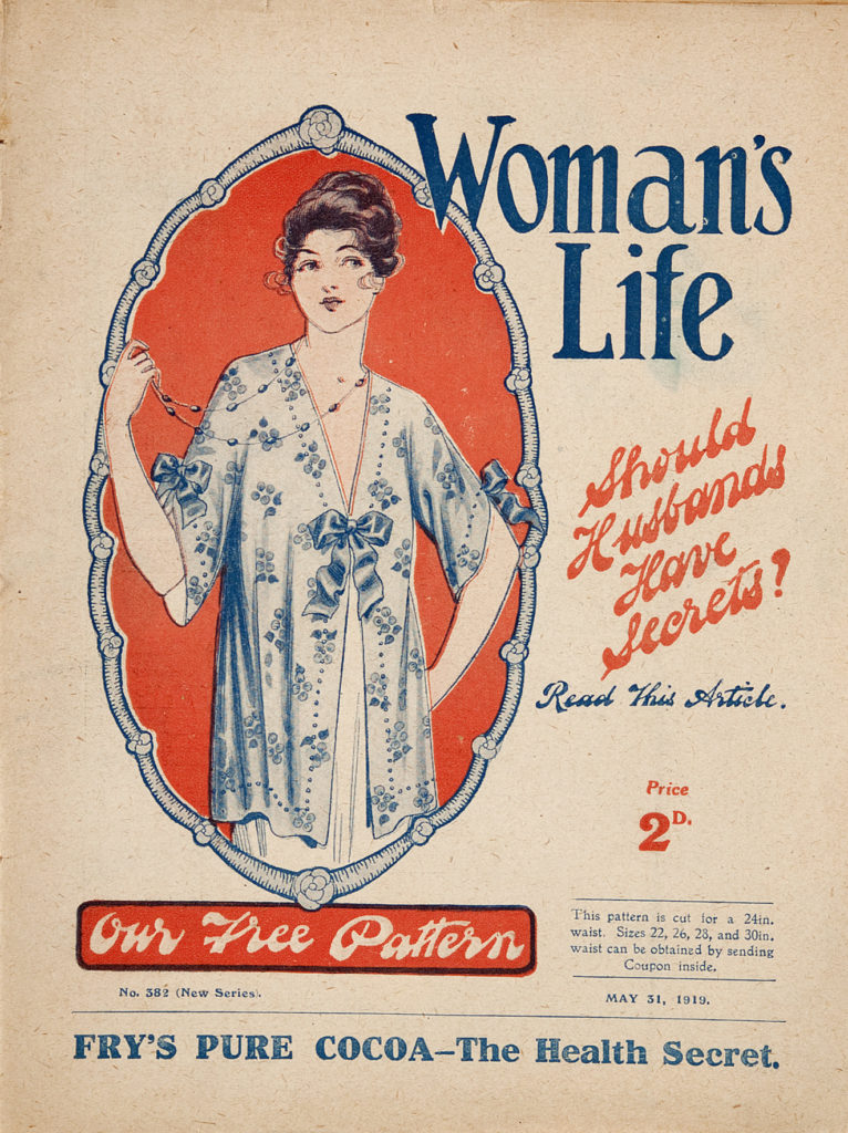front cover of womans life magazine 1919 with drawing of woman wearing dressing gown
