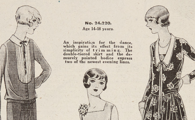 illustrations of woman in 1920s style outfits