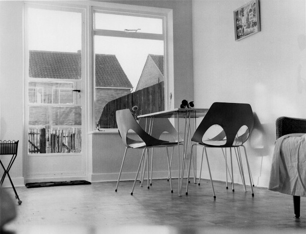 Photograph of interior of house in Enfield, 1958